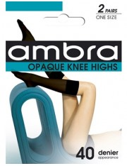 Ambra Opaque Knee Highs - 2 Pairs Pack