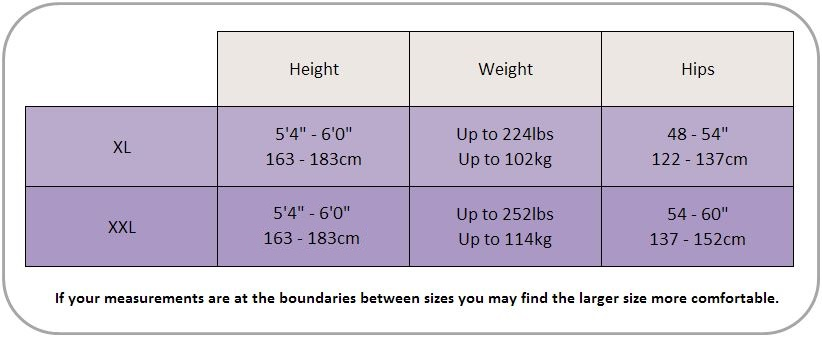 Pretty Polly XL and XXL Size Chart